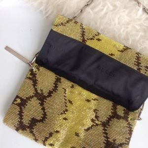 RARE GUCCI Clutch w/chain in sequin python print